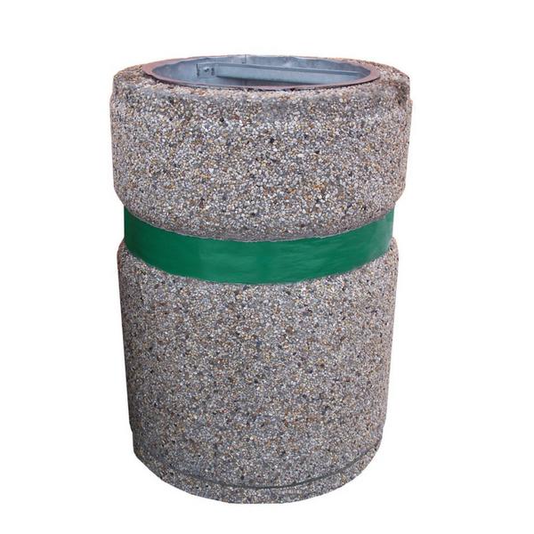Kosz betonowy z malowanym pasem 70 L