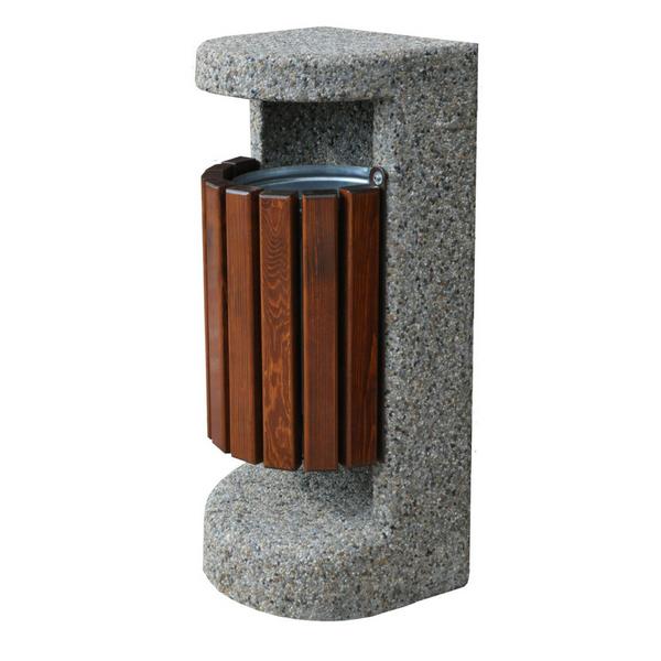 Betonowy kosz z elementami drewnianymi Arek 36 L