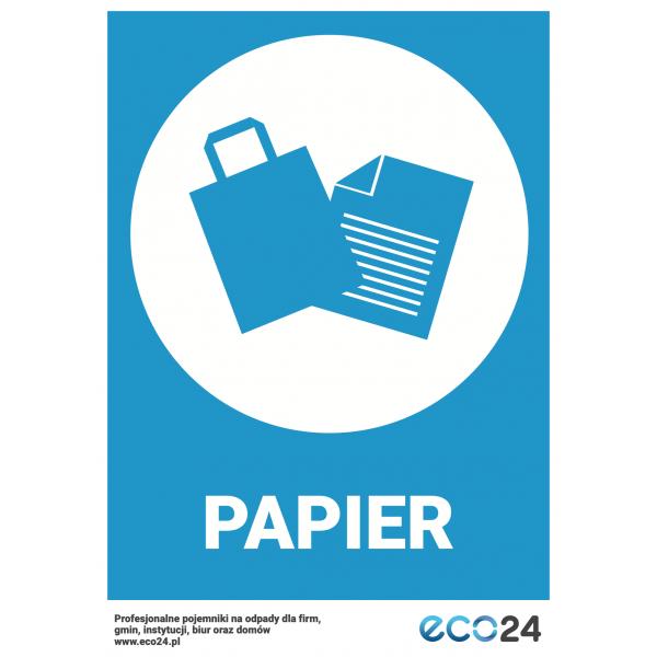 Naklejka na kosz do segregacji odpadów A4 – papier