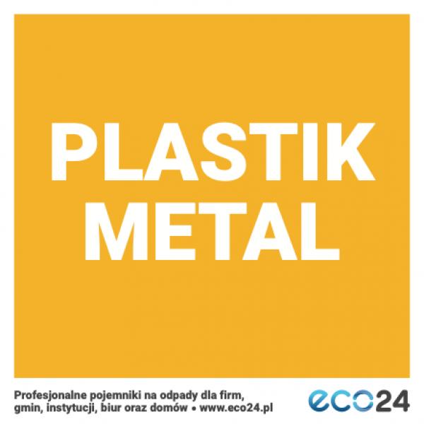 Naklejka na kosz do segregacji odpadów 15 x 15 cm – plastik metal