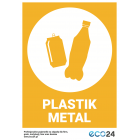 Naklejka eko na kosz segregacja śmieci A4 PLASTIK