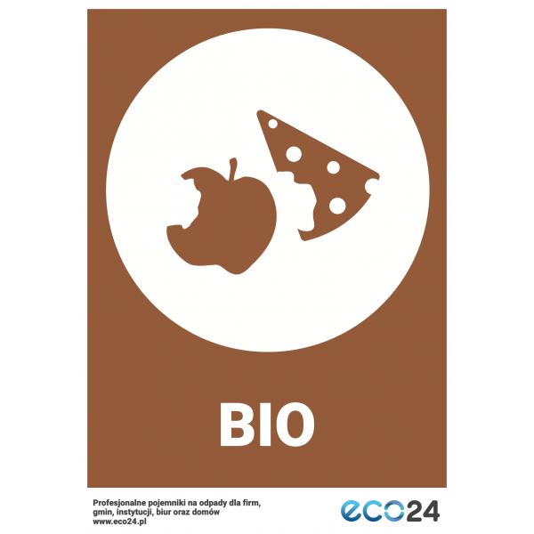 Naklejka na kosz do segregacji odpadów A4 – odpady bio
