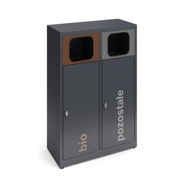 Pojemnik do segregacji odpadów 2-modułowy ESTRI 2 x 70 L