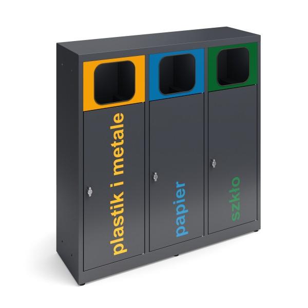 Pojemnik do segregacji odpadów 3-modułowy ESTRI 3 x 70 L