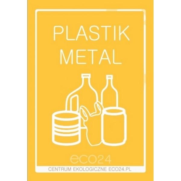 Naklejka na pojemniki do selektywnej zbiórki PLASTIKU i METALU A5