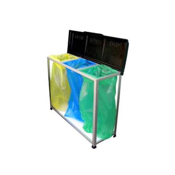 Niezabudowany stojak na worki do segregacji odpadów 3 x 120 L