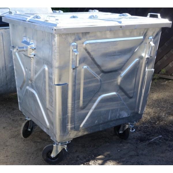 Metalowy pojemnik 1100L z klapą trójdzielną