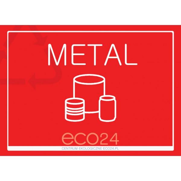 Naklejka eko na kosz segregacja śmieci A4 METAL