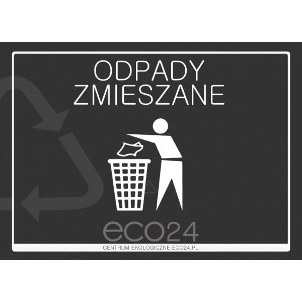 Naklejka na kosz do segregacji odpadów A4 – odpady zmieszane