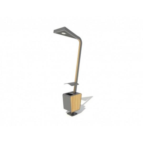 Kosz na śmieci z lampą uliczną PLAYEKO