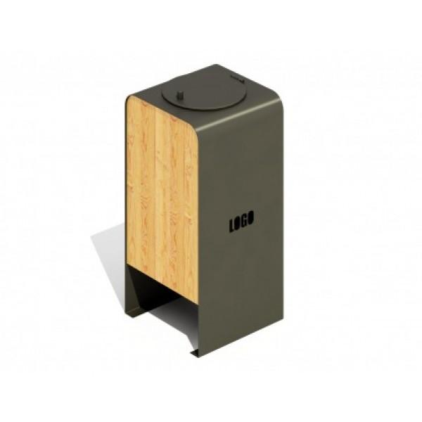 Kosz na śmieci drewniano-metalowy z klapą PLAYEKO