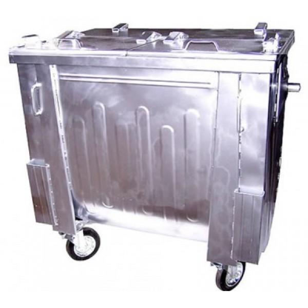 Metalowy pojemnik na odpady komunalne 1100 L klapa w klapie