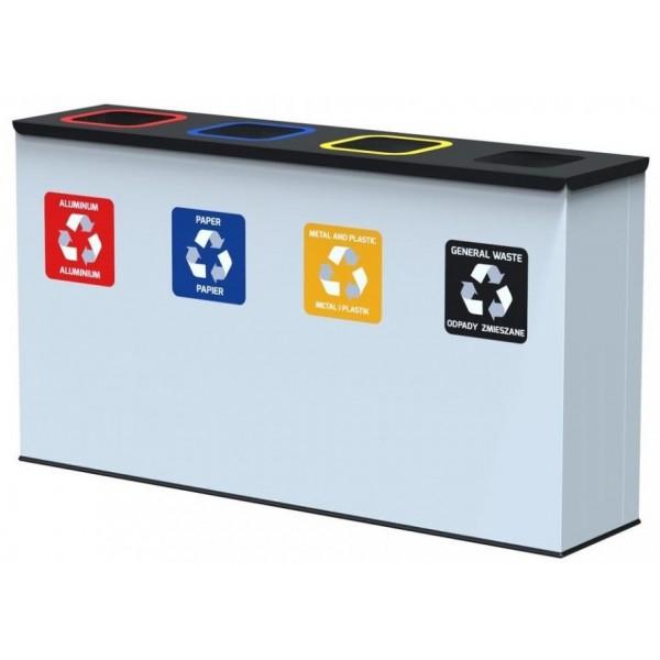 Antybakteryjny pojemnik na odpady EKO STATION 4 x 60 L