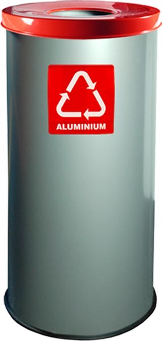 Pojemnik do segregacji w kolorze czerwonym na aluminium