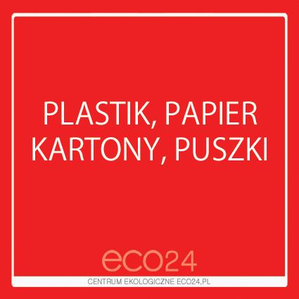 Naklejka kwadratowa Plastik, Papier, Kartony, Puszki